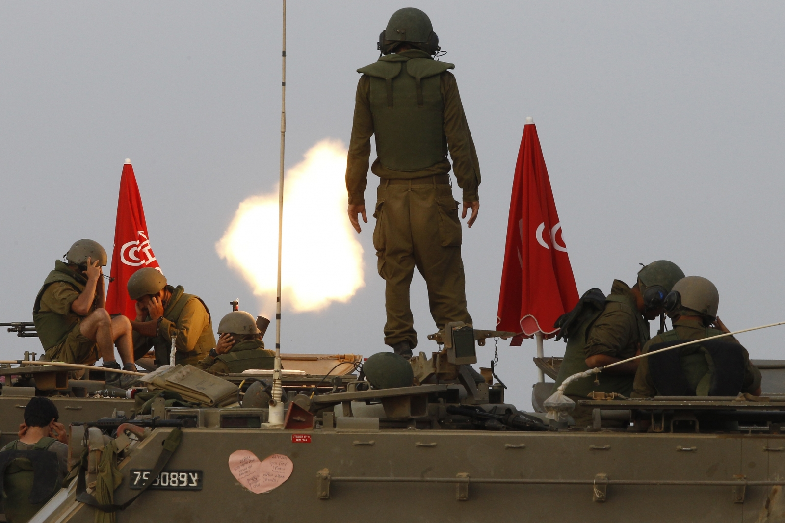 Israeli soldier shelling Gaza